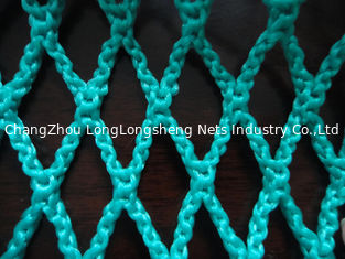 China Green HDPE Decorative Fishing Net , Durable Knotless PE Rope Netting Fabric supplier